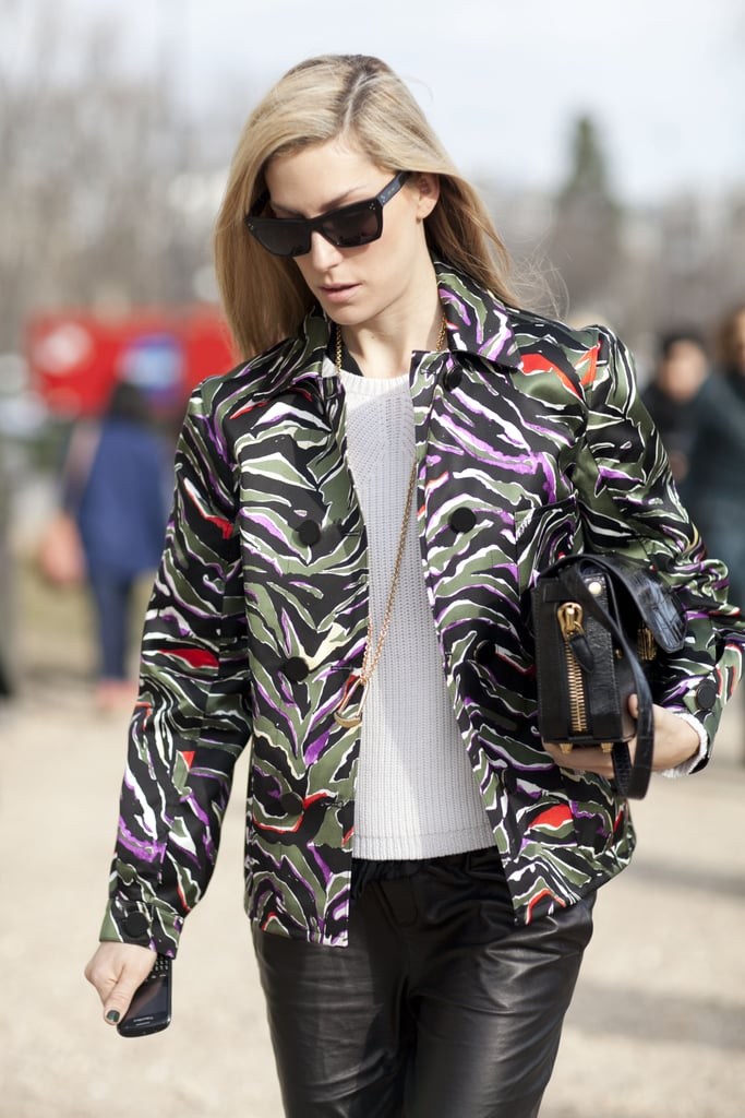 Joanna Hillman outfitted a basic knit with a bold little jacket.
