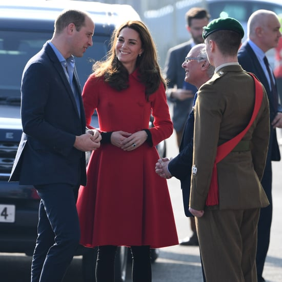 Kate Middleton Red Carolina Herrera Coat February 2019