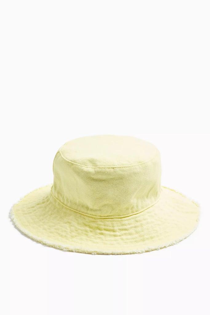 Topshop Yellow Fray Edge Bucket Hat