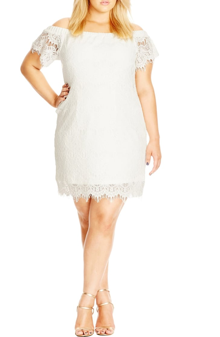 City Chic Off The Shoulder Lace Dress Rihanna White