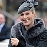 Zara chose gray felt Amy Money Millinery for the Cheltenham Festival in 2012.