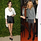 Alexa dressed up her shorts with a white blouse and heels; Sienna opted for tights and ankle boots.