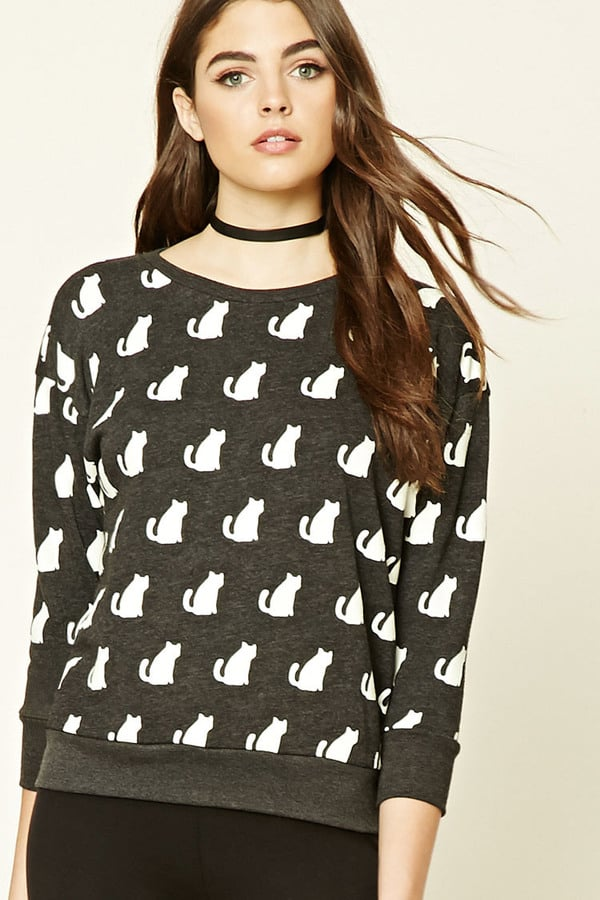 Fleece Cat Print Sweatshirt ($18)