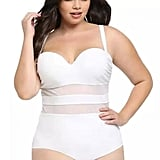PlusTrendy White Mesh Panel Swimsuit