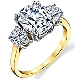 Oliveti Sterling Silver Gold Plated Cushion CZ Engagement Ring