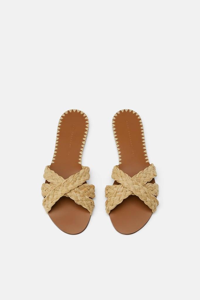Natural Raffia Flat Sandals | Best Zara Sandals | POPSUGAR