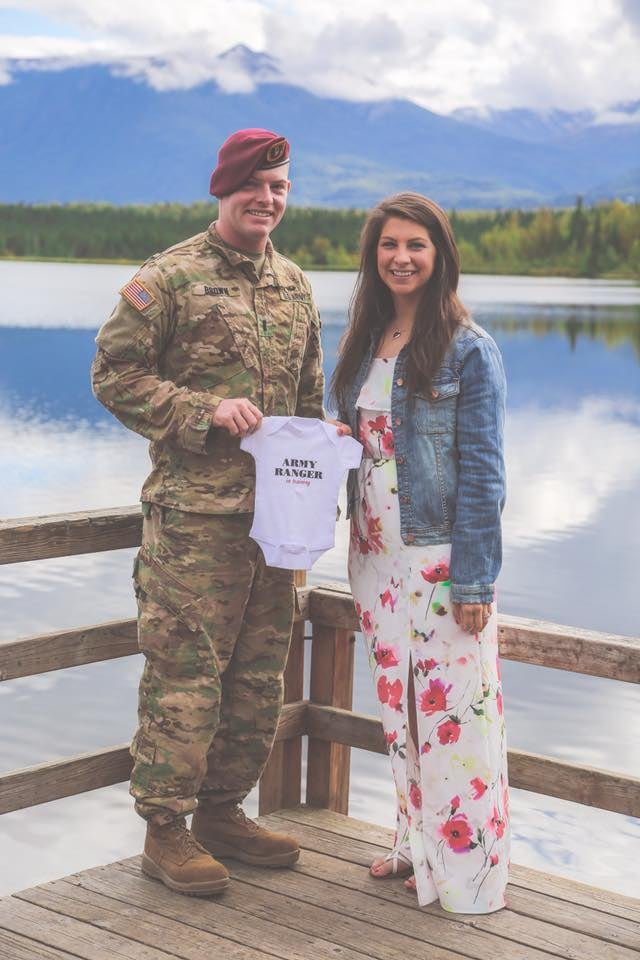 woman surprises husband with pregnancy before deployment