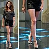 Get Kristen Stewar's leggy leather shorts look.