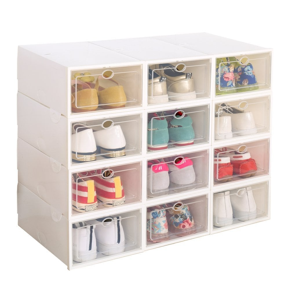 Clear Plastic 12-Pack Stackable Storage Shoe Boxes