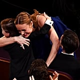 Room stars Brie Larson and Jacob Tremblay shared a sweet hug.