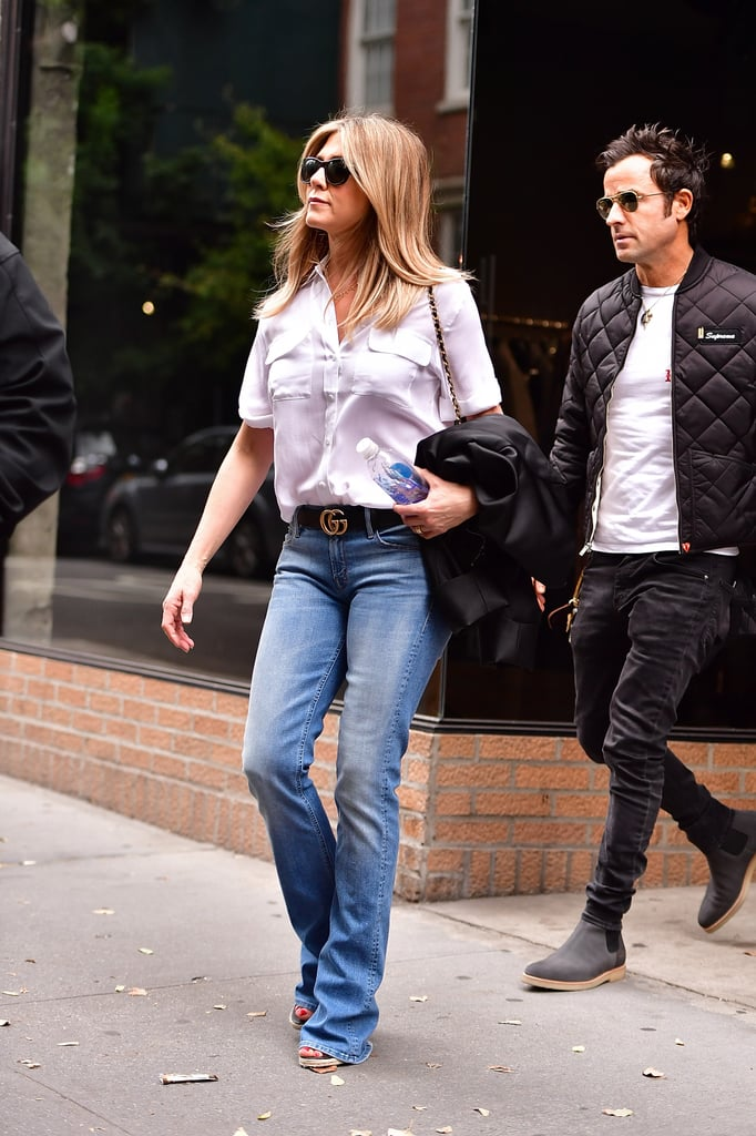Jennifer Aniston White Button Down And Jeans September 2016 Popsugar Fashion