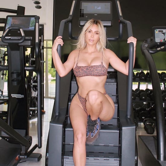 Kim Kardashian Working Out in Cheetah-Print Bikini