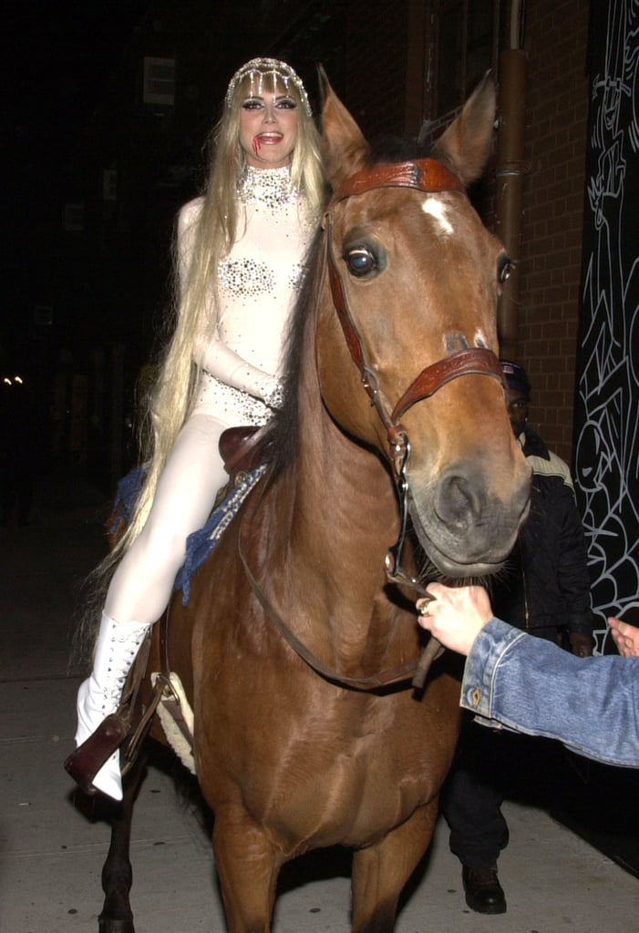 Heidi Klum mounted a horse for her 2001 costume in NYC.