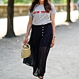 Tuck a Graphic Tee Into a Long Skirt