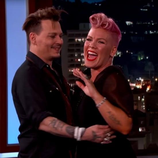 Johnny Depp Surprises Pink on Kimmel 2016