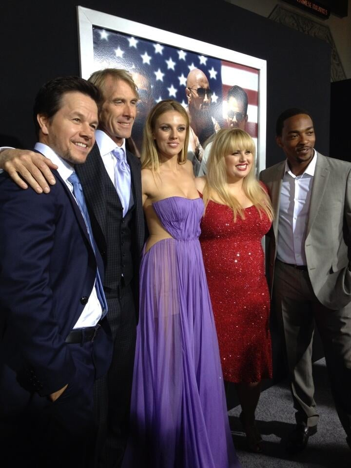 Rebel Wilson shared a group photo from the premiere of Pain & Gain. Source: Twitter user RebelWilson