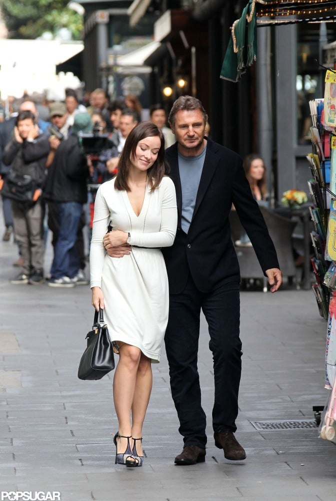 Olivia Wilde stepped out in Rome with Liam Neeson to film a scene for The Third Person.