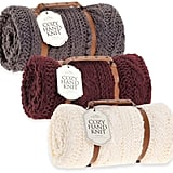 Berkshire Blanket Cozy Cable Knit Throw in Berry ($130)