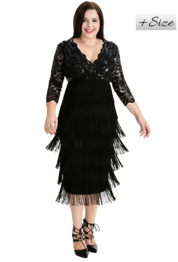 Goddiva Plus Size Flapper Midi Dress Best Plus Size Party Dresses
