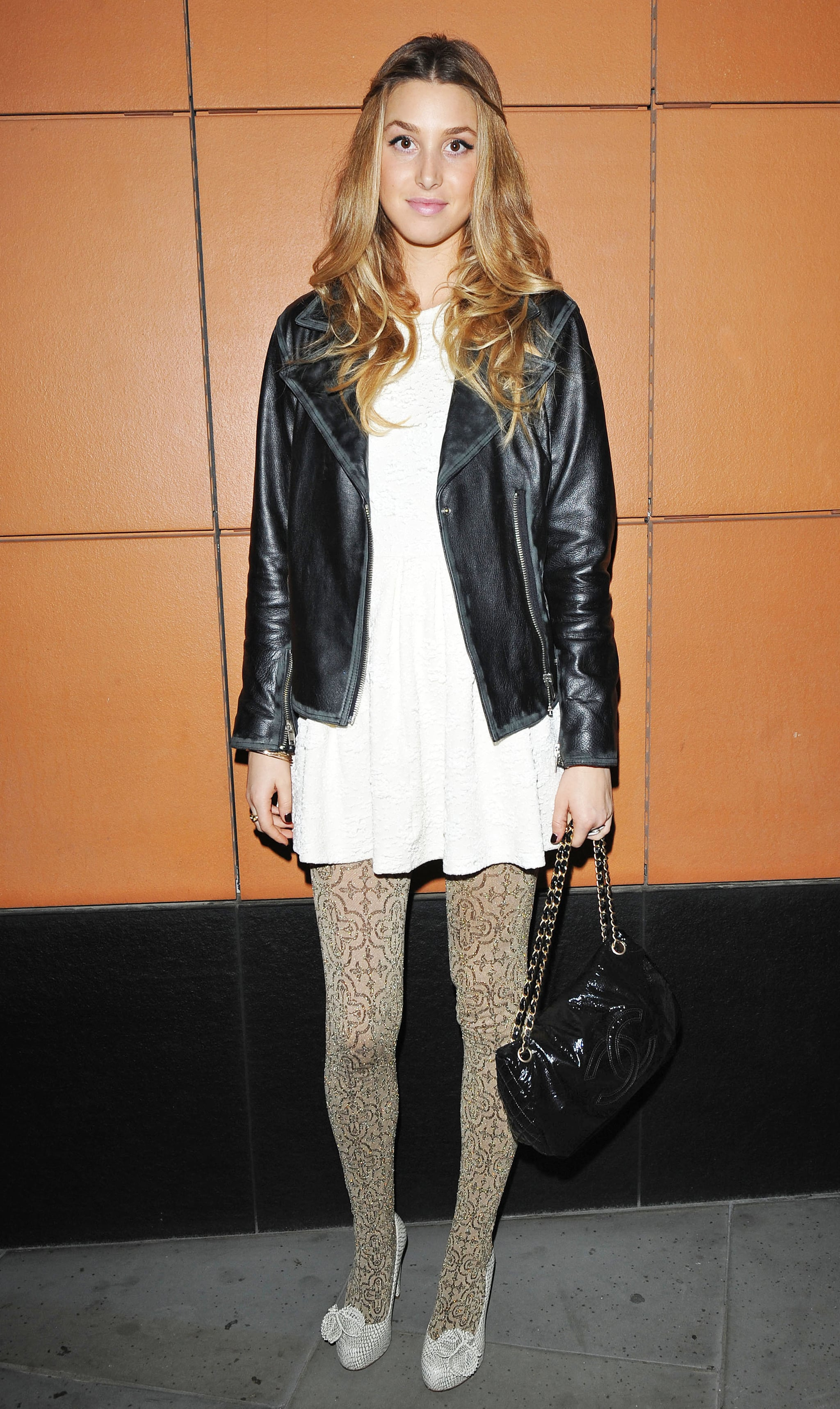Photos Of Whitney Port In London In Gold Tights And White