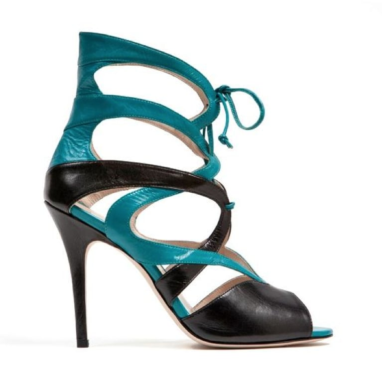 Monique Lhuillier Teal Kid/Black Kid Combo Sandal ($895)