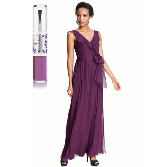 Your typical ruffled bridesmaid dress, like Amsale's Ruffle Silk Chiffon Gown ($310) gets enhanced with a lighter violet shade, like Elizabeth Arden's New York in Bloom Nail Lacquer Duo in purple ($19).