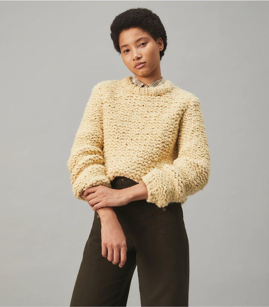 Tory Burch Hand-Knit Bouclé Sweater