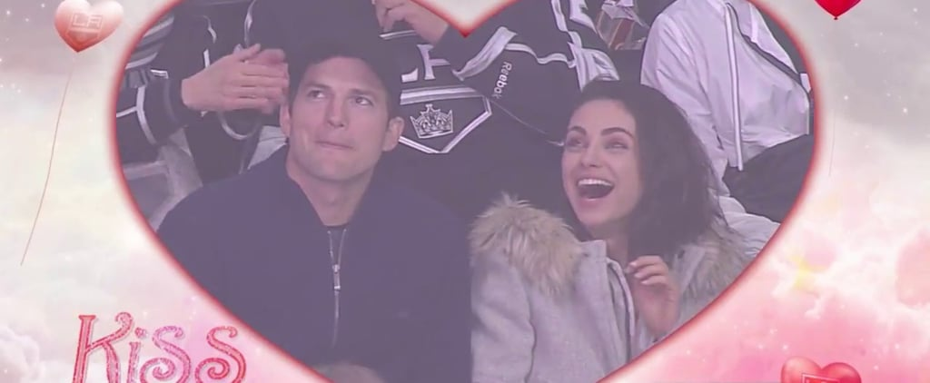LOL: Ashton Tries to Shove His Tongue Down Mila's Throat After Getting Caught on a Kiss Cam