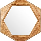 Rivet Modern Hexagon Wood Frame Hanging Wall Mirror