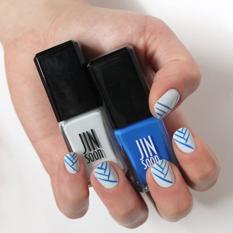 Blue and white nail art diy popsugar beauty prinsesfo Image collections