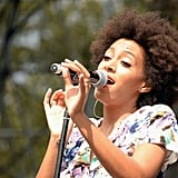 Solange sang on stage at the Made in America Festival.
