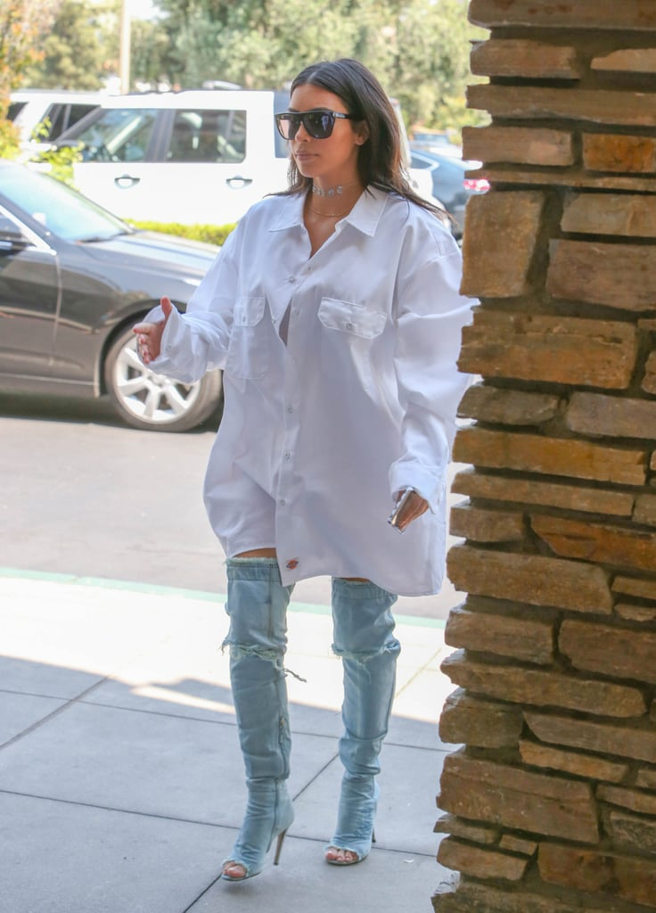 Kim Kardashian Wearing Denim Over-the-Knee Boots June 2016