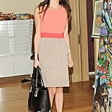 Amal put a serious touch on colorblocking with a black-and-white tote bag.