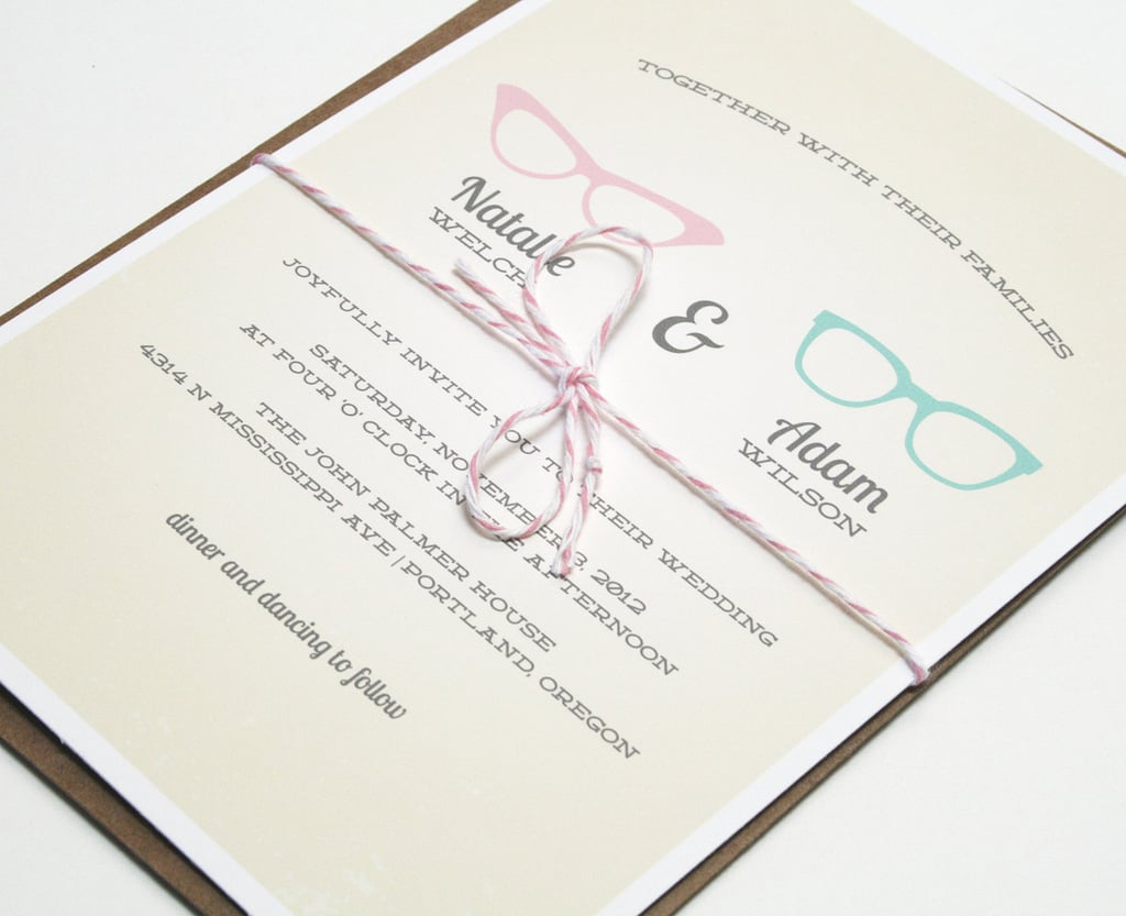 "If you fell in love with a fellow ""four-eyes,"" these vintage geek-chic invitations ($3 each) are a fitting option."