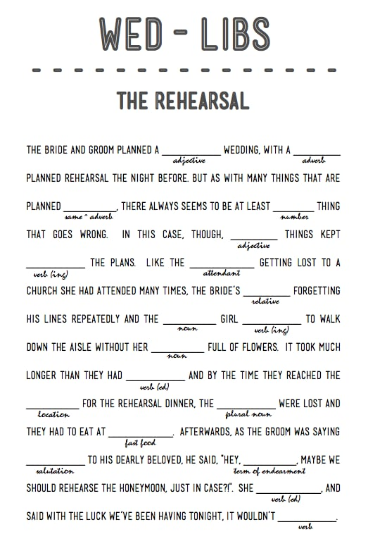 The Rehearsal | Free Printable Wedding Mad Libs | POPSUGAR ...