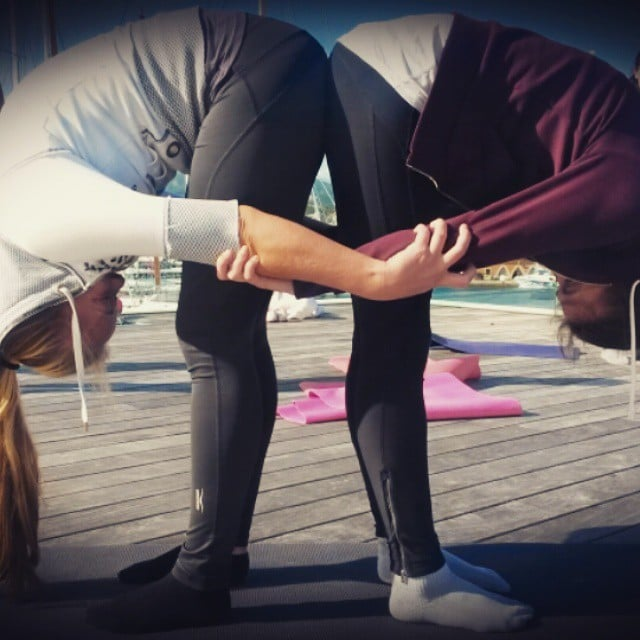 Double Standing Forward Bend Partner Yoga Poses For Friends And Lovers Popsugar Fitness Photo 3