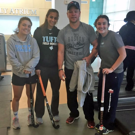 Matt Damon Working Out at Tufts University 2017