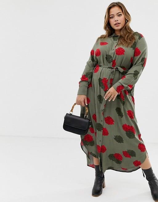 Zizzi Shirt Dress With Rose Print