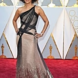 Halle Wore This One-Shoulder Versace Gown to the Ceremony