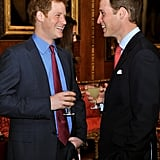Will and Harry shared a laugh (and a drink) during a reception at Windsor Castle in May 2012.