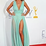 Heidi Klum showed off her legs in an Alexandre Vauthier dress at the Emmy Awards.