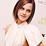 Emma brought some colour with green eyeshadow, and wore her hair poker straight.