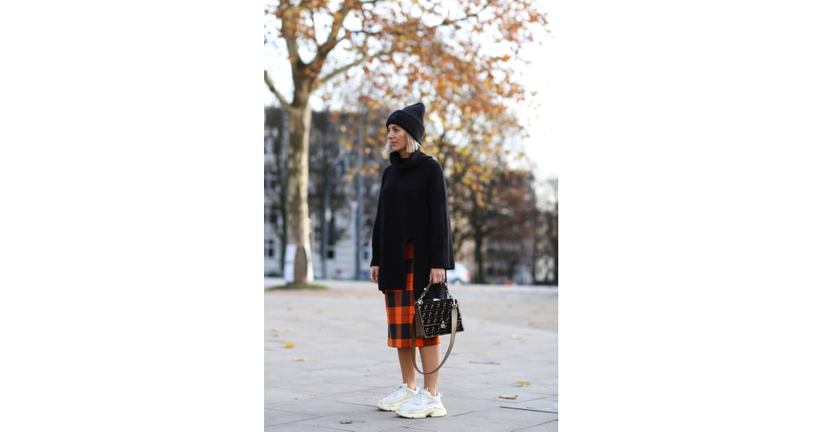 728056b265 Get Preppy in a Plaid Wool Skirt, Oversize Turtleneck, and White Sneakers |  How to Wear Sneakers in the Winter | POPSUGAR Fashion Photo 14