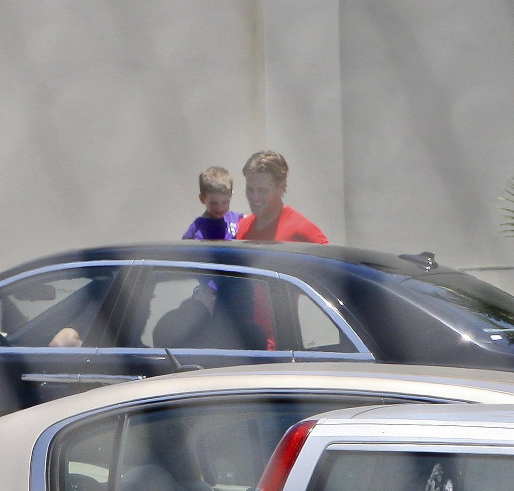 Tom Brady with son John Moynahan leaving an LA camp.