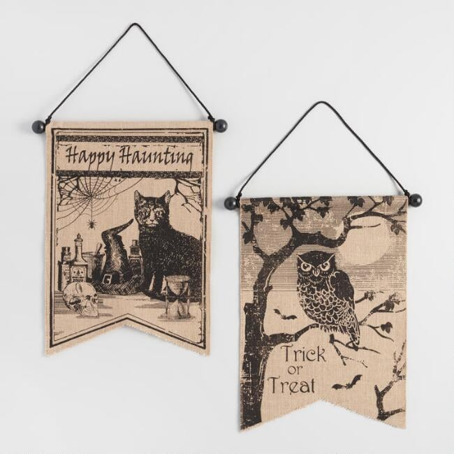 Burlap Halloween Banners Set Of 2 ($20)