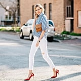 With a Blue Striped Button-Down and Red Heels