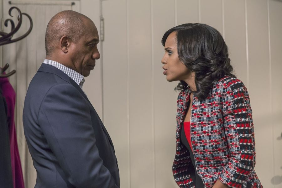 We don't know what the argument's about — but Olivia's jacket certainly beats her dad's blazer.