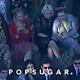 Lena Dunham and Jemima Kirke sat behind Katy Perry and John Mayer.