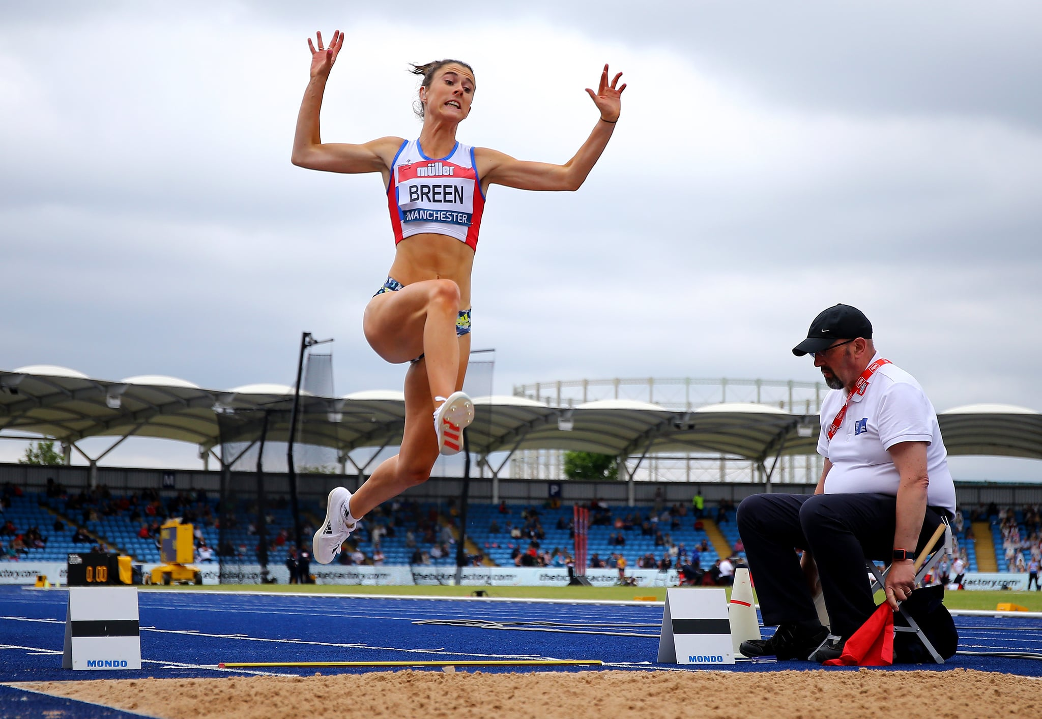 MANCHESTER, ENGLAND - JUNE 27: Olivia Breen of Portsmouth competes during the Womens Long Jump Final on Day Three of the Muller British Athletics Championships at Manchester Regional Arena on June 27, 2021 in Manchester, England. (Photo by Ashley Allen/Getty Images)