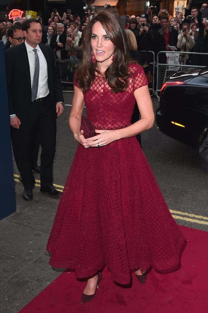 Kate Middleton Wearing Red Marchesa Notte Dress April 2017 ...